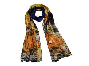 "Van Gogh's ""Cafe Terrace at Night"" 100% Satin Charmeuse Silk Scarf"