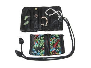 Silky Embroidered Brocade Jewelry Travel Organizer Roll Pouch - Onyx Black