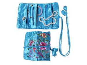 Silky Embroidered Brocade Jewelry Travel Organizer Roll Pouch - Turquoise Blue