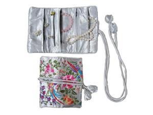 Silky Embroidered Brocade Jewelry Travel Organizer Roll Pouch - Silver Grey