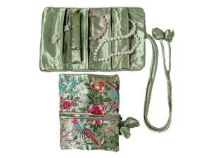Silky Embroidered Brocade Jewelry Travel Organizer Roll Pouch - Peridot Green