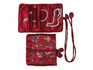 Silky Embroidered Brocade Jewelry Travel Organizer Roll Pouch - Garnet Burgundy