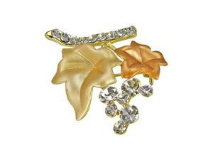 Blossom Leaves Branch Crystal Diamante Brooch Pin