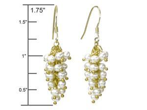 White Cultured Pearl Bunch 18k Yellow Gold Overlay Sterling Silver Earrings