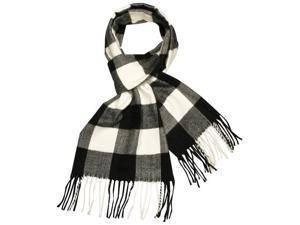 Men's Cashmere Feel Acrylic Classic Buffalo Plaids Long Scarf - Black and White