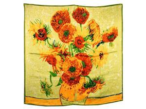 "100% Satin Charmeuse Silk Van Gogh's ""Sunflower"" Square Scarf Shawl"