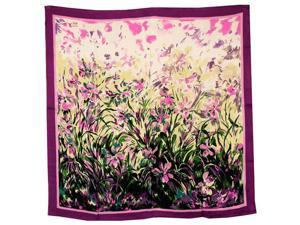 100% Satin Silk Laurent Monteil's Irises Painting Square Scarf Shawl - Purple