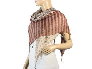 Stripes Flower Polka Dots with Dangling Dove Coin Drops Square Scarf-Brown/Tan
