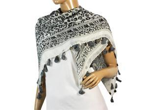 Leopard Zebra Floral Dangling Coin Tassel Edge Cotton Sheer Square Scarf - Black