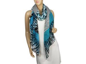 Polka Dots Leopard Print Diagonal Stripes Cotton Sheer Long Scarf Sarong - Blue