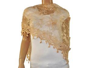 Rayon Polyester Embroidered Scroll Vine Lace Tassels Triangle Scarf - Champagne