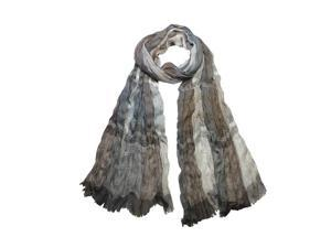 Men's Polyester Plaid Stripes Crinkle Frayed Edges Light Long Scarf- Tan Gray