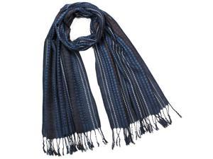 Men's Polyester Jacquard Graduated Dot Stripes Tassels Ends Long Scarf