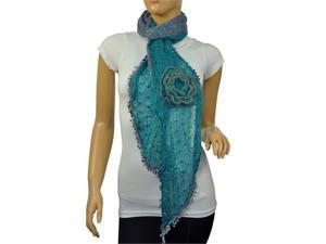 Dahlia Acrylic & Mohair Two-Tone Ruffle Large Flowers Small Ball Scarf - Blue/Gray