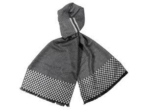 Reversible Checkers and Cross Line Pattern 100% Rayon Long Scarf - Black