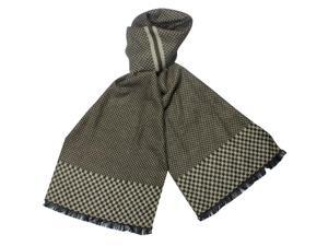 Reversible Checkers and Cross Line Pattern 100% Rayon Long Scarf - Brown