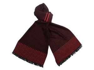 Reversible Checkers and Cross Line Pattern 100% Rayon Long Scarf - Red