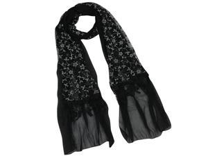Shining Floret Flower Pattern Hand Embroidered Lace Tassels Long Scarf - Black
