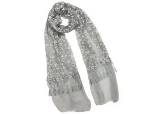 Shining Floret Flower Pattern Hand Embroidered Lace Tassels Long Scarf - Gray