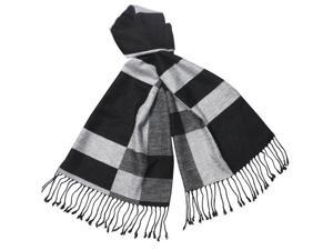 Reversible Black Gray White Rectangle Stripe 100% Rayon Cashmere Feel Long Scarf