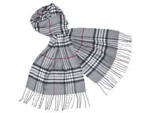 Classy Plaid Super Soft Cashmere Feel Tassel Ends Long Scarf - Gray