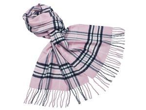 Classy Plaid Super Soft Cashmere Feel Tassel Ends Long Scarf - Pink