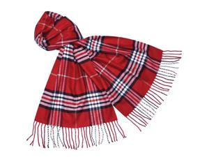 Classy Plaid Super Soft Cashmere Feel Tassel Ends Long Scarf - Red