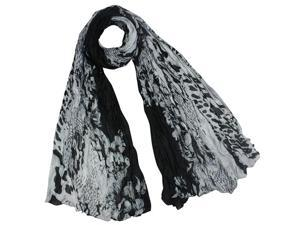 Street Style Rose Flower Leopard Print Chain Link Fence Long Scarf Shawl - Black