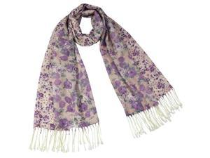 Purple Rose and Floret Flower Pattern 100% Fine Wool Tassel End Long Scarf Shawl