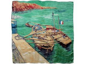 "100% Charmeuse Silk Van Gogh's ""Landing Stage with Boats"" Square Scarf Shawl"