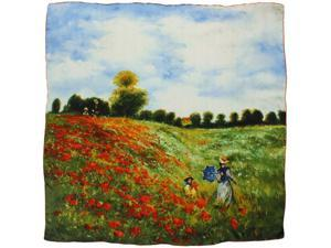 "100% Charmeuse Silk Claude Monet ""Poppy Field in Argenteuil"" Square Scarf Shawl"