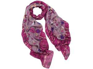 Hibiscus and Cherry Blossom Flowers with Tiled Border Square Scarf Shawl - Pink