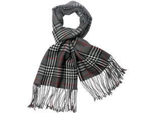 100% Pashmina/Cashmere Classic Plaid Tassel Ends Long Scarf Shawl- Grey