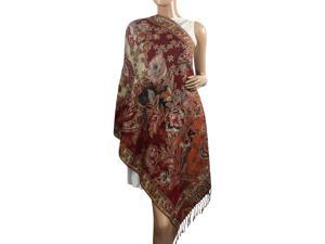 Pashmina Metallic Paisley Flower Jacquard Reversible Scarf Shawl - Burgundy Red