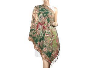 Pashmina Metallic Paisley Flower Jacquard Reversible Scarf Shawl - Olive Green