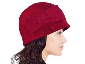 Dahlia Women's Vintage Large Bow Wool Cloche Bucket Hat - Red