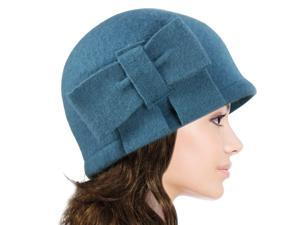 Dahlia Women's Vintage Large Bow Wool Cloche Bucket Hat - Teal Blue