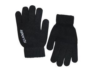 Men's Solid Color Knitted Wool Acrylic Blend Gloves - Black