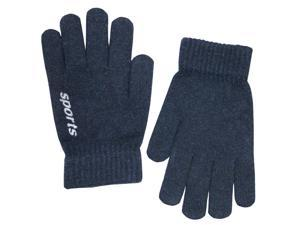 Men's Solid Color Knitted Wool Acrylic Blend Gloves - Navy Blue