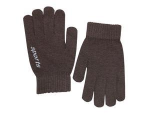 Men's Solid Color Knitted Wool Acrylic Blend Gloves - Brown