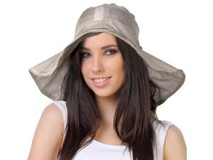 Breezy Silver Thread Large Ribbon Bow Shapeable Floppy Sun Hat - Bronze Tan