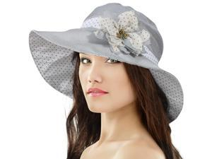 Lovely Stripe Polka Dot Dahlia Flower Pin Shapeable Floppy Sun Hat