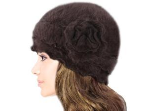 Dahlia Women's Super Soft Flower Ruffle Laciness Angora Blend Knit Beanie Hat - Brown
