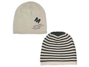 Men's Reversible Stripes and Solid Color Acrylic Beanie Hat - Tan