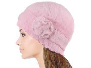 Dahlia Women's Super Soft Flower Ruffle Laciness Angora Blend Knit Beanie Hat - Pink