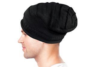 Dahlia Unisex Solid Color Acrylic Slouch Beanie Hat - Black