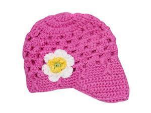 Lovely Flower Hand Crochet Acrylic Baby Visor Hat - Pink