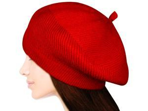 Women's Fluffy Twisted Classic Beret Acrylic Rabbit Hair Knit Beanie Hat - Red