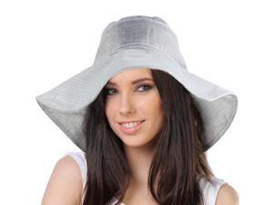 Breezy Silver Thread Large Ribbon Bow Shapeable Floppy Sun Hat - Silver Gray
