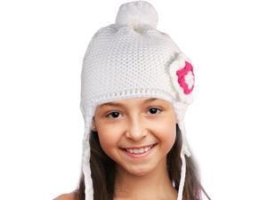 Triple Layer Crochet Rhinestone Flower Acrylic Girl Trapper Hat - White